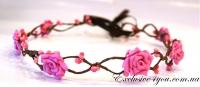 Нежно-розовый веночек на голову
