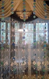 Гирлянда кружочки в бирюзово-синем стиле на прочной капроновой нитке