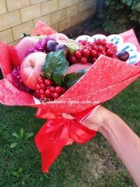 Школьный фруктовый красный букет