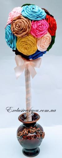Цветное дерево счастья  с атласный роз