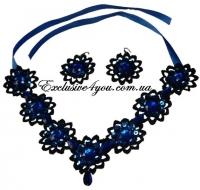 Набор ожерелье и серьги синего цвета