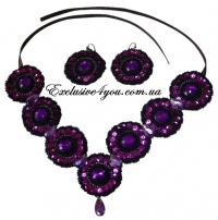 Набор ожерелье и серьги фиолетового цвета
