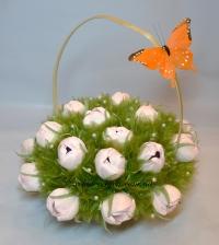 Букет нежно розовых тюльпанов из конфет