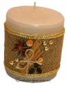 Толстая золотая свеча ручной работы