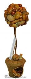 Ароматное осеннее золотое дерево счастья с собачкой