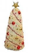 Большая пушистая бежевая елочка в красно-золотых тонах